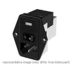 Power Entry Module, DPST, 10A, Black, Mounting Ears Mount, General Purpose Filter