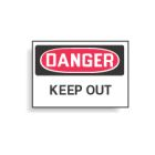 Admittance Sign, Danger - Keep Out, Black/Red Legend, Aluminum, Self-Adhesive Mounting, 14.00 in. L