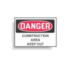 Safety Warning Sign, Danger - Construction Area Keep Out, Black/White Legend, Plastic, Rectangular