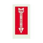 Safety Warning Sign, Fire Extinguisher, Red Legend, Polyester, Self-Adhesive Mounting, Arrow Down