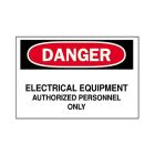 Safety Warning Sign, Danger - Electrical Equipment - Authorized Personnel Only, Black/White Legend