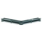 Patch Panel, 1.75 x 19.00 in., 1U Rack, 110 Termination, 24 Ports, 8 Wire Cat 5e, T568A/B, Black