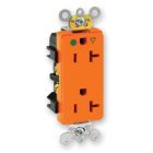 Duplex Receptacle, 20A, NEMA 5-20R, 2P, 3W, 125V AC, Isolated Ground, Orange, Hospital Grade