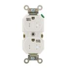 Tamper-Weather Resistant Duplex Receptacle, 20A, NEMA 5-20R, 2P, 3W, 125V AC, Grounding, White, Nylon
