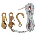 Block and Tackle with Guarded Hook, 3.25 in. Open/Swivel Eye Anchor Hook, 25 ft Line Length